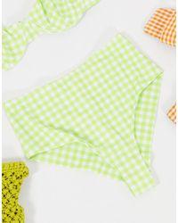 Monki Cecile Recycled Polyester Cheeky Bikini Bottom - Green