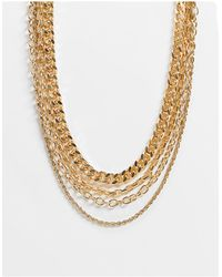 Pieces Layered Mixed Chain Necklace - Metallic