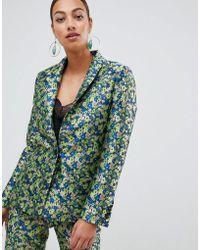 ASOS - Premium Tailored Blazer In Ditsy Floral Jacquard - Lyst