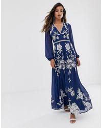 ASOS Robe longue à manches fendues pour grandes occasions avec broderie et bordures cercles - Bleu