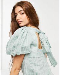 Forever New Robe babydoll longueur mollet à manches bouffantes, encolure carrée et nœud dans le dos - Menthe douce - Vert