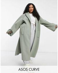 ASOS Curve - Manteau en tissu façon néoprène - sauge - Vert