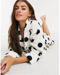Lindex Spot Print Fleece Robe - Multicolour