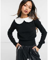River Island Collar Sweater - Black