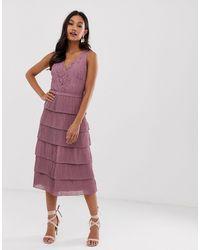 Little Mistress V Neck All Over Lace Midi Dress - Multicolour