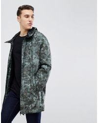 Stradivarius - Hooded Jacket In Green Camo - Lyst