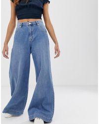 Pull&Bear Blauwe Jeans Met Wijde Pijpen