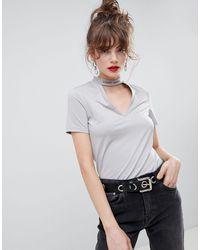 Cheap Monday Hacker Stamp Choker T-shirt - Gray
