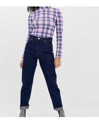 Monki Moluna High Waist Straight Leg Jeans With Organic Cotton In Dark Blue