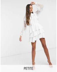 John Zack Белое Короткое Приталенное Платье -белый