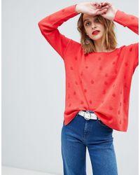 Esprit Jersey con lunares en el mismo tejido - Rojo