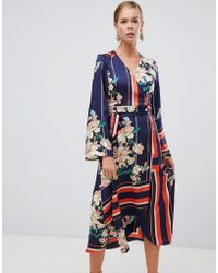 Boohoo - Kimono Sleeve Midi Dress In Mixed Stripe And Floral Print - Lyst
