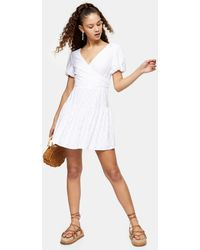 TOPSHOP Broderie Faux Wrap Minidress - White