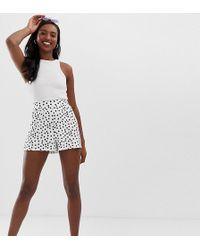 ASOS Asos Design Tall Culotte Short In Mono Spot Print - Black