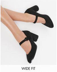 Simply Be Черные Туфли Мэри Джейн Для Очень Широкой Стопы Jennifer-черный