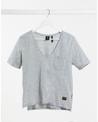 G-Star RAW V Neck Front Pocket Detail Tee - Grey