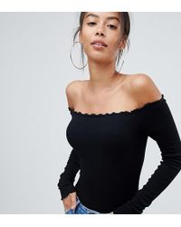 ASOS - Asos Design Tall Off Shoulder Body With Long Sleeves And Lettucing In Black - Lyst