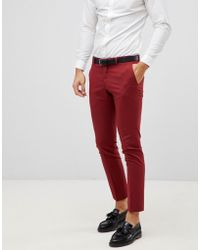 SELECTED - Red Suit Trouser In Skinny Fit - Lyst