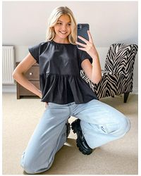 Vila Oversized Blouse With Back Bow Tie Detail - Black