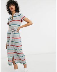 Lacoste Striped Tie Waist Midi Dress - Multicolour