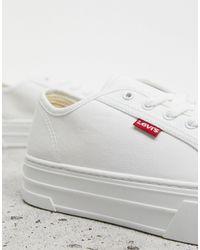Levi's Белые Парусиновые Кроссовки На Плоской Платформе -белый