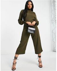 AX Paris Tuta jumpsuit accollata kaki - Verde