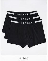 TOPMAN Confezione da 3 boxer aderenti neri - Nero