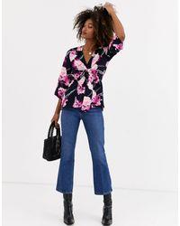 AX Paris Блузка С Цветочным Принтом И Завязкой -мульти - Синий