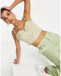 Missguided Top a corsetto color champagne con zip davanti - Neutro
