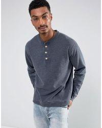 Abercrombie & Fitch Henley Sweatshirt White Label In Navy Marl - Blue