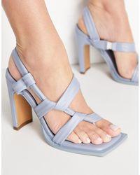 NA-KD Knot Detail Heeled Sandals - Blue