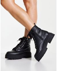 New Look Zip Detail Lace Up Chunky Boot - Black