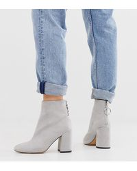 London Rebel Wide Fit High Block Heel Boots In Gray