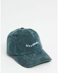 ASOS Cappello con visiera grigio a coste con scritta