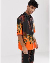 Jaded London Festival - Chemise d'ensemble à imprimé flammes - Noir