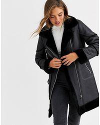 Urbancode Longline Biker Coat - Black