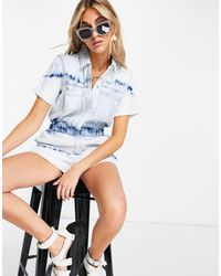 ONLY Denim Playsuit With Long Pockets - Blue