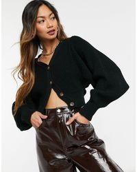 Glamorous Cropped Knitted Cardigan With Balloon Sleeves - Black