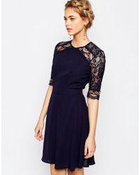 Elise Ryan 3/4 Sleeve Lace Midi Dress - Blue