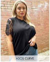 ASOS Asos Design Curve T-shirt With Lace Sleeve Detail - Black