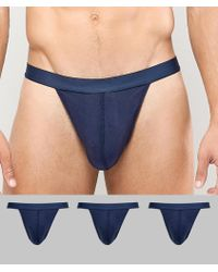 ASOS - Thong In Blue 3 Pack In Organic Cotton - Lyst