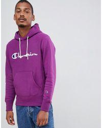 Champion - Reverse Weave Hoodie With Large Script Logo In Purple - Lyst
