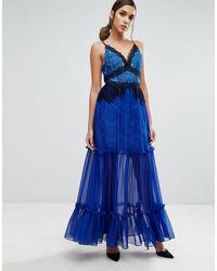 Three Floor Vestido largo escalonado con detalle - Azul