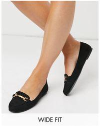 New Look - Черные Лоферы Из Искусственной Замши На Плоской Подошве Для Широкой Стопы New Look-черный Цвет - Lyst