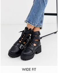 Park Lane Wide Fit Chunky Lace Up Boots-black