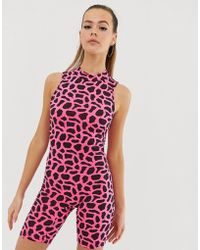 Fashionkilla High Neck Cropped Unitard In Neon Pink Giraffe
