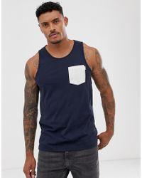 Jack & Jones Originals - Trägershirt mit Tasche - Blau