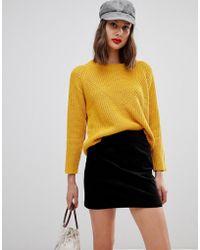 Warehouse - A-line Velvet Skirt In Black - Lyst