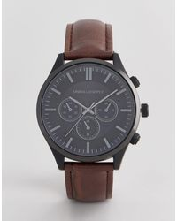 ASOS Watch With Crocodile Emboss Strap And Contrast Black Case - Brown