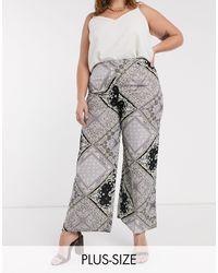 AX Paris Pantalon large à imprimé bandana - Gris